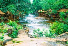 Il parco nazionale di Kirirom situato in Kompong spue provincia regno di Cambogia la belle cascata e montagna Fotografie Stock Libere da Diritti