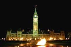 Il Parlamento e la fiamma centennale del Canada Fotografie Stock Libere da Diritti