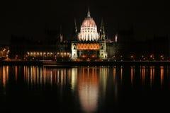 Il Parlamento ungherese alla notte Fotografia Stock Libera da Diritti
