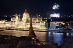 Il Parlamento ungherese a Budapest, Ungheria Fotografia Stock Libera da Diritti