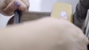 Il parrucchiere fa la laminazione ed i capelli che raddrizzano in un salone di bellezza per una ragazza con capelli marroni Conce archivi video