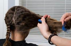 il parrucchiere intreccia la seconda treccia al bambino, con capelli ricci fotografie stock libere da diritti