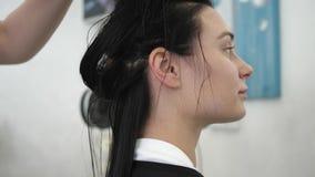 Il parrucchiere professionista con l'asciugacapelli in apparecchio per asciugare le mani i capelli del cliente dopo avere lavato