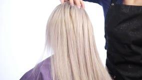 Il parrucchiere professionista fa un'acconciatura donna che fa i suoi raddrizzare capelli nel salone di capelli video d archivio