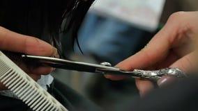 Il parrucchiere taglia i capelli al primo piano del cliente archivi video