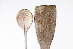 Il particolare di legno del cucchiaio ha sparato su bianco Fotografie Stock