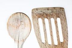 Il particolare di legno del cucchiaio ha sparato su bianco Fotografia Stock Libera da Diritti