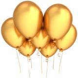Il partito balloons dorato Fotografia Stock Libera da Diritti