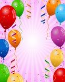 Il partito Balloons la priorità bassa della ragazza Fotografie Stock Libere da Diritti