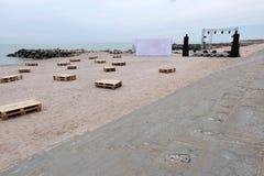 Il partito della spiaggia sta preparando Immagini Stock