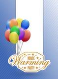 il partito di inaugurazione della casa balloons il segno del fondo della carta Fotografia Stock Libera da Diritti