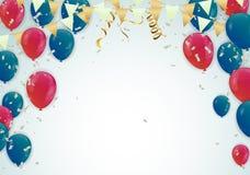 Il partito di vettore balloons l'illustrazione Coriandoli e nastri che accolgono fondo Vettore di celebrazione illustrazione di stock