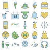 Il partito e la celebrazione allineano e riempiono le icone isolate di vettore illustrazione di stock