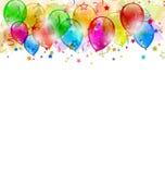 Il partito stabilito balloons, coriandoli con spazio per testo Fotografia Stock