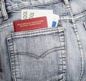 Il passaporto del cittadino della Russia e di duecento euro in a Immagini Stock