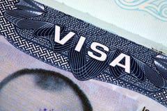 Il passaporto, visto, timbra. Fotografie Stock