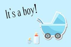 Il passeggiatore blu con un neonato, le parole è un ragazzo illustrazione, Fotografia Stock Libera da Diritti