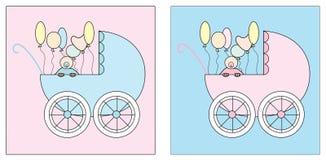 Il passeggiatore due ha impostato con un bambino e gli aerostati illustrazione vettoriale