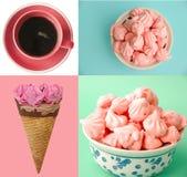 Il pastello ha colorato il gelato, il caffè ed il collage della meringa Fotografia Stock Libera da Diritti