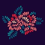 Il pastello ha colorato il mazzo stilizzato delle foglie e dei fiori su buio, vettore Immagini Stock Libere da Diritti