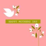 Il pastello ha colorato le carte con la colomba, fiori del giorno di madri della molla Fotografie Stock Libere da Diritti