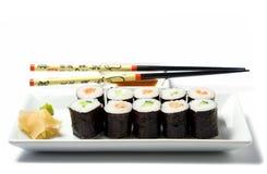 Il pasto dei sushi di Maki ha isolato Fotografia Stock