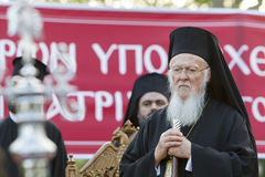 Il patriarca ecumenico Bartholomew visita Serres alla chiesa di Fotografie Stock Libere da Diritti