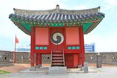 """Il patrimonio mondiale dell'Unesco della Corea colloca padiglione della fortezza di Hwaseong del †"""" Fotografia Stock"""