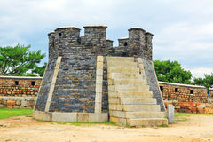 """Il patrimonio mondiale dell'Unesco della Corea colloca segnale della fortezza di Hwaseong del †"""" Immagine Stock"""