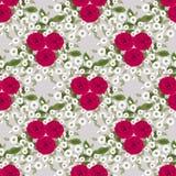 Il patte d'annata senza cuciture floreale ha stilizzato le siluette dei fiori e dei rami su un fondo grigio Fiori e foglie Fotografie Stock