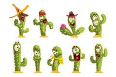 Il pavè dei caratteri del cactus, cactus divertenti con differenti emozioni vector le illustrazioni su un fondo bianco royalty illustrazione gratis