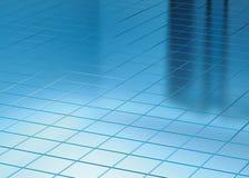 Il pavimento e la finestra blu riflettono Immagine Stock