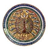 Il pavone ha fatto il ‹del †del ‹del †di vetro colorato su un fondo bianco Immagini Stock Libere da Diritti