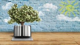 Il pc nero con il fondo 3d del breeck dell'albero dei soldi rende il kno di successo Immagini Stock Libere da Diritti