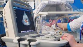 Il pediatra controlla la frequenza cardiaca del bambino, facendo uso di uno strumento medico stock footage