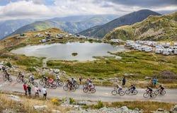 Il Peloton in montagne Fotografia Stock Libera da Diritti