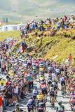 Il Peloton in montagne - Tour de France 2016 Fotografia Stock Libera da Diritti