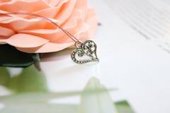 Il pendente d'argento sotto forma di cuore sui precedenti di uno sbocciare è aumentato immagini stock