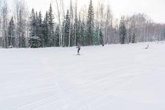 Il pendio del pattino Pendio dello sci nella bella foresta di inverno della foresta nel taiga Alberi sotto la neve Pista per gli  Immagine Stock Libera da Diritti