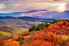 Il pendio di collina di autunno con gli alberi variopinti del fogliame si avvicina alla valle Fotografia Stock