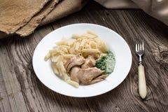 Il penne della pasta con il pollo ed il prezzemolo casalingo sauce Immagini Stock