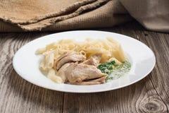 Il penne della pasta con il pollo ed il prezzemolo casalingo sauce Fotografia Stock