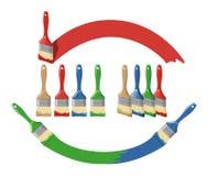 Il pennello e la limanda verniciano il multi insieme di colore Fotografie Stock Libere da Diritti