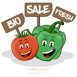 Il pepe ed il pomodoro con il fumetto guardano con i segni Fotografia Stock