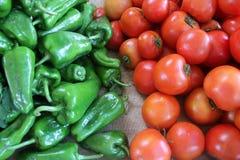 Il peperone verde ed il pomodoro Immagine Stock Libera da Diritti