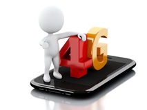 il peple bianco 3d con lo Smart Phone e 4G firmano Concetto di tecnologia Immagini Stock