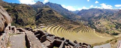 Il Perù, Pisac Pisaq - rovine di inca nella valle sacra nel peruviano le Ande fotografie stock