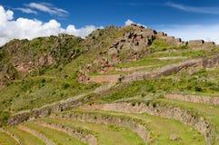 Il Perù, valle sacra, rovine del Inca di Pisaq Fotografie Stock Libere da Diritti