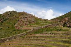 Il Perù, valle sacra, rovine del Inca di Pisaq Fotografie Stock