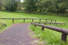 Il percorso al T seguente ad un bello campo da golf Immagini Stock Libere da Diritti